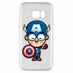 Чехол для Samsung S7 Маленький Капитан Америка