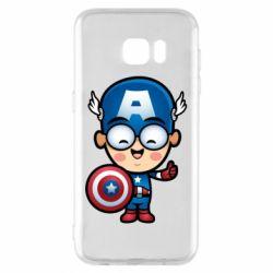 Чехол для Samsung S7 EDGE Маленький Капитан Америка