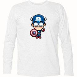 Футболка с длинным рукавом Маленький Капитан Америка - FatLine