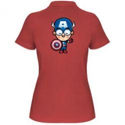 Женская футболка поло Маленький Капитан Америка - FatLine