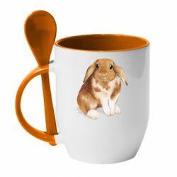 Кружка з керамічною ложкою Маленький кролик