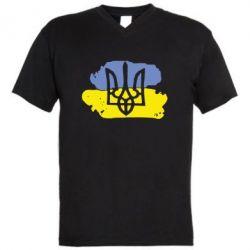 Мужская футболка  с V-образным вырезом Мальований прапор - FatLine