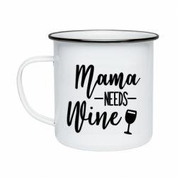 Кружка емальована Mama need wine