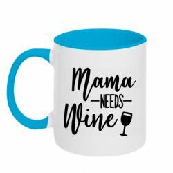 Кружка двухцветная 320ml Mama need wine