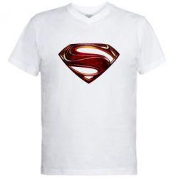 Мужская футболка  с V-образным вырезом Man of Steel - FatLine