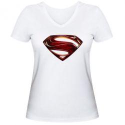 Женская футболка с V-образным вырезом Man of Steel - FatLine