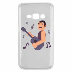 Чехол для Samsung J1 2016 Man playing the guitar flat vector