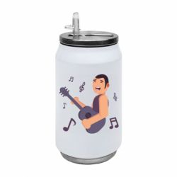 Термобанка 350ml Man playing the guitar flat vector