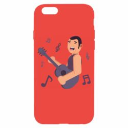 Чехол для iPhone 6/6S Man playing the guitar flat vector