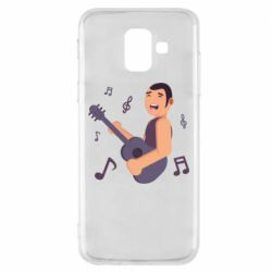 Чехол для Samsung A6 2018 Man playing the guitar flat vector
