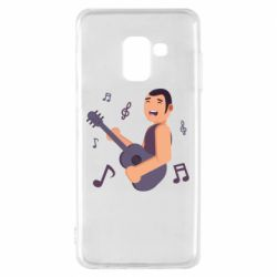 Чехол для Samsung A8 2018 Man playing the guitar flat vector