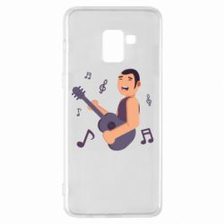 Чехол для Samsung A8+ 2018 Man playing the guitar flat vector