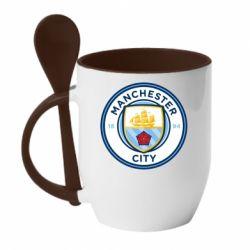 Кружка з керамічною ложкою Manchester City