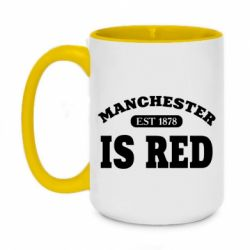 Кружка двоколірна 420ml Manchester is red