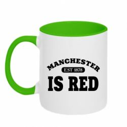 Кружка двоколірна 320ml Manchester is red