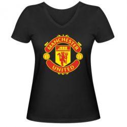 Женская футболка с V-образным вырезом Манчестер Юнайтед - FatLine
