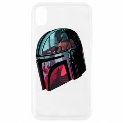 Чехол для iPhone XR Mandalorian Helmet profil