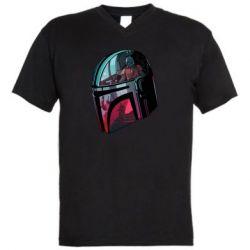 Мужская футболка  с V-образным вырезом Mandalorian Helmet profil