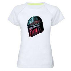 Женская спортивная футболка Mandalorian Helmet profil