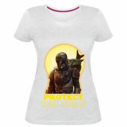 Женская стрейчевая футболка Mandalorian the child