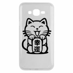 Чехол для Samsung J7 2015 Maneki-neko, cat bringing luck