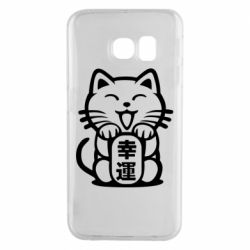 Чехол для Samsung S6 EDGE Maneki-neko, cat bringing luck