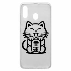 Чехол для Samsung A20 Maneki-neko, cat bringing luck