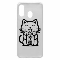 Чехол для Samsung A40 Maneki-neko, cat bringing luck