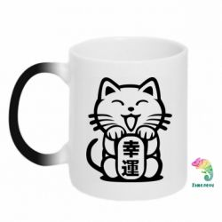 Кружка-хамелеон Maneki-neko, cat bringing luck