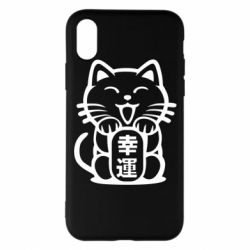 Чехол для iPhone X/Xs Maneki-neko, cat bringing luck