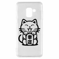 Чехол для Samsung A8 2018 Maneki-neko, cat bringing luck