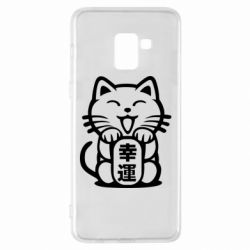 Чехол для Samsung A8+ 2018 Maneki-neko, cat bringing luck