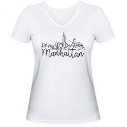 Женская футболка с V-образным вырезом Manhattan