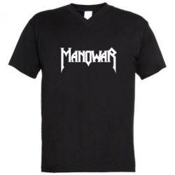 Мужская футболка  с V-образным вырезом Manowar - FatLine