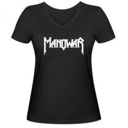 Женская футболка с V-образным вырезом Manowar - FatLine