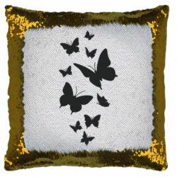 Подушка-хамелеон Many butterflies