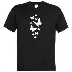 Чоловіча футболка з V-подібним вирізом Many butterflies