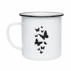 Кружка емальована Many butterflies