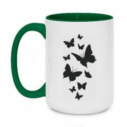 Кружка двоколірна 420ml Many butterflies