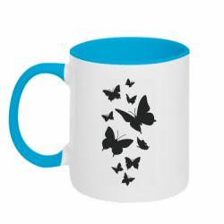 Кружка двоколірна 320ml Many butterflies