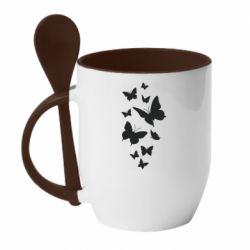 Кружка з керамічною ложкою Many butterflies