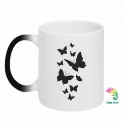 Кружка-хамелеон Many butterflies