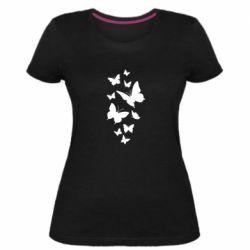 Жіноча стрейчева футболка Many butterflies