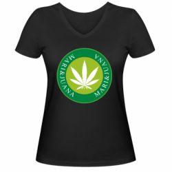 Женская футболка с V-образным вырезом Mari&juana