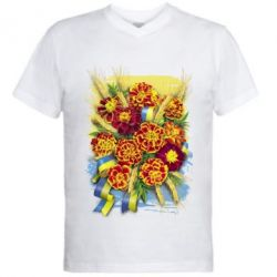 Чоловіча футболка з V-подібним вирізом Marigold with spikelets of wheat