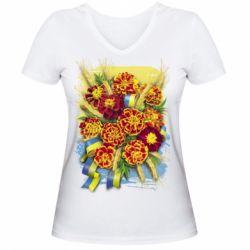 Жіноча футболка з V-подібним вирізом Marigold with spikelets of wheat