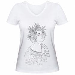 Женская футболка с V-образным вырезом Маривана