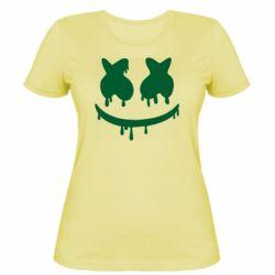 Женская футболка Marshmello and face logo