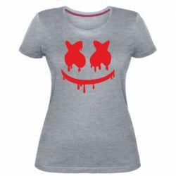 Женская стрейчевая футболка Marshmello and face logo