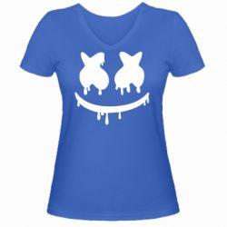 Женская футболка с V-образным вырезом Marshmello and face logo